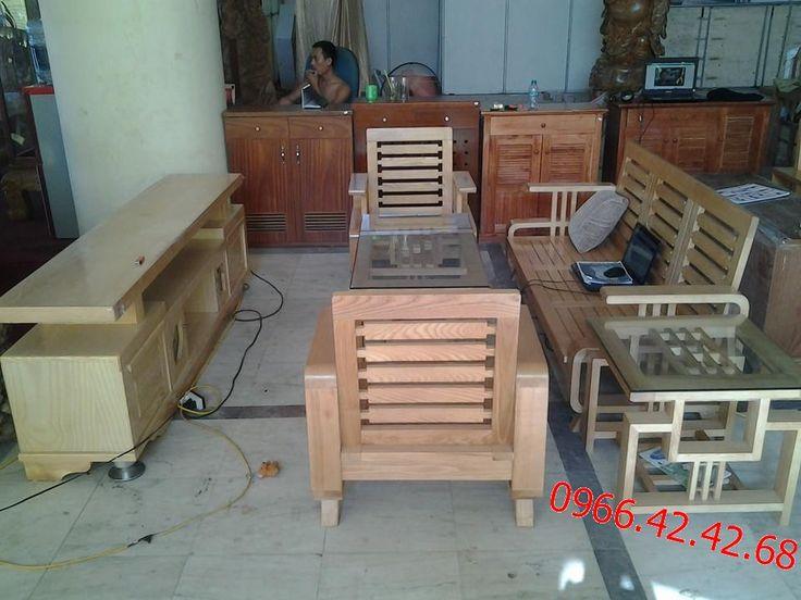 Bộ bàn ghế sofa phòng khách gỗ sồi nga 5 món