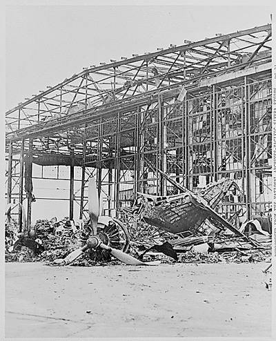 Picture of a Burned Hanger at Pearl Harbor
