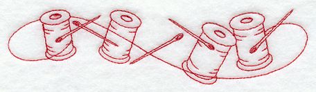 Machine Embroidery Designs at Embroidery Library! - Spools of Thread Border (Redwork)