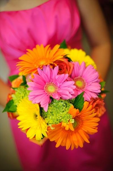 Gerber Daisys , mini green hydrangea and roses
