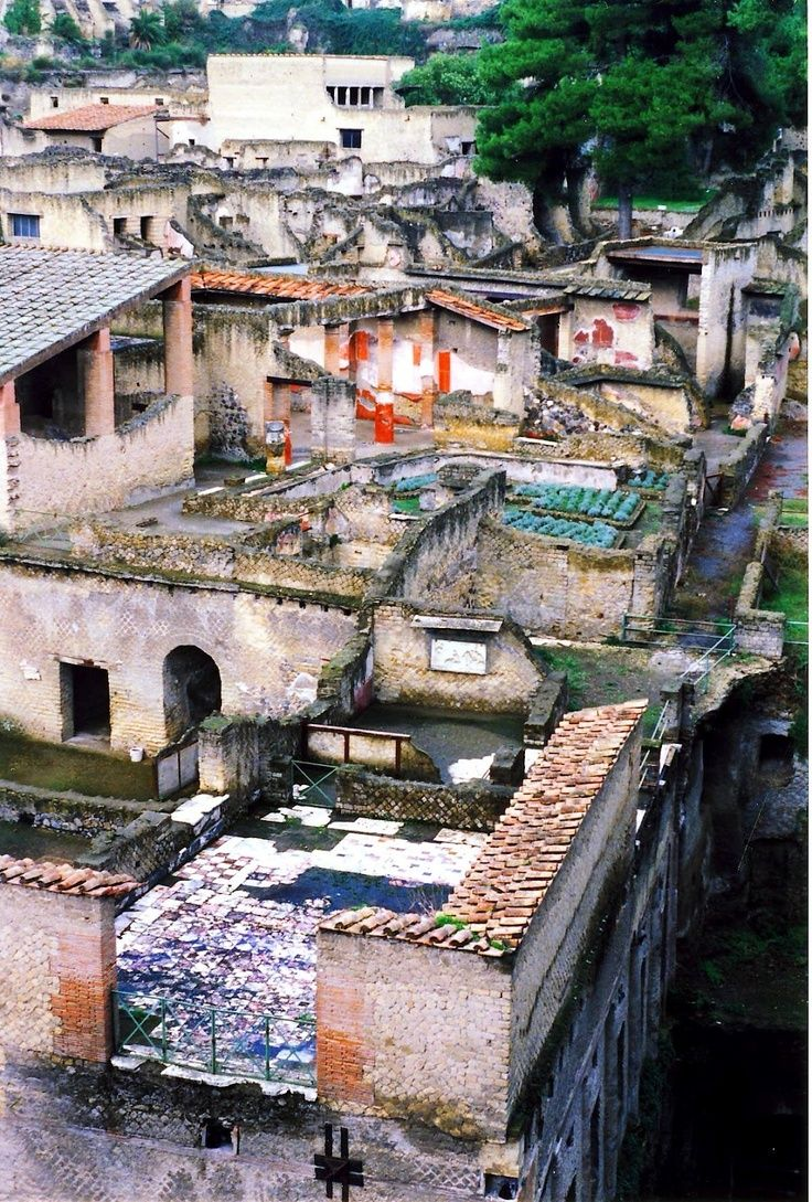 A view from above of the ruins of Herculaneum