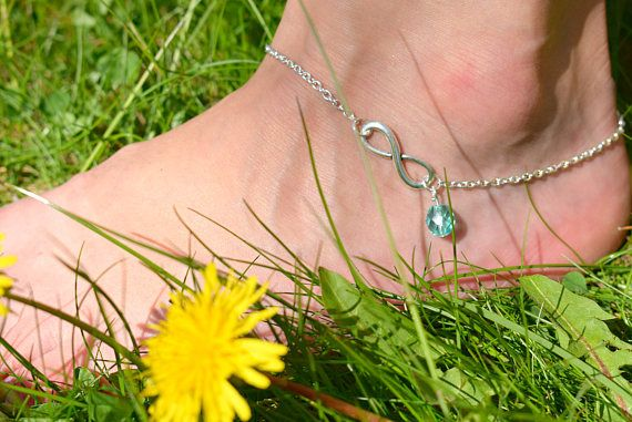 Silver Anklet  Infinity Ankle Bracelet  Summer Jewelry
