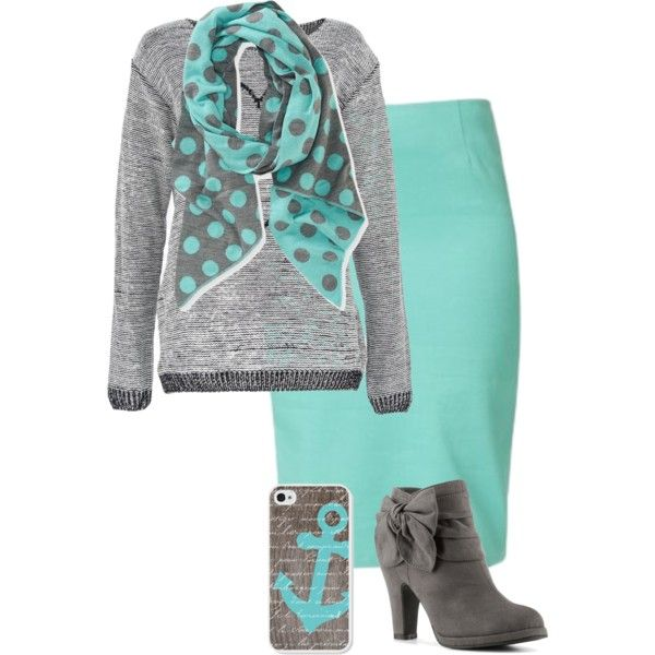 """""""Blue and Grey"""" by modest-16 on Polyvore (I like this color combo and idea for making a sweatshirt work for work)"""
