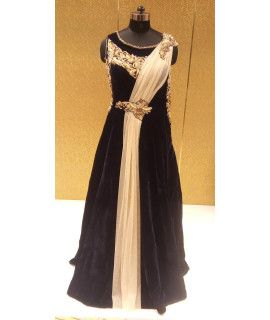 Classy Blue Velvet Embroidery Gown.