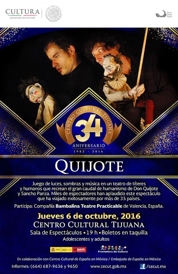Disfruta de este espectáculo como miles de espectadores lo han hecho en más de 35 países. Un juego de luces, sombras y música en un teatro de títeres y humanos, que recrean el gran caudal de humanismo de Don Quijote y Sancho Panza.