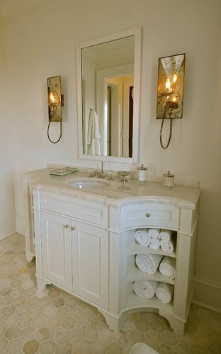 Trisha TroutzCool Bathroom Floors, Small Bathroom, Guest Bathroom, Bath Vanities, Bathroom Powd, Master Bath, Hex Floor Tile In Bathroom, Trisha Troutz, Bath Floors