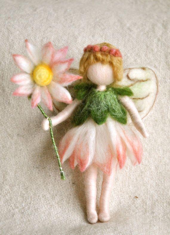 Flower Fairy Waldorf inspired needle felted doll: Daisy Fairy via Etsy----- fairy mobiles