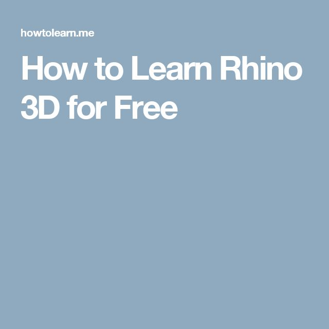 How to Learn Rhino 3D for Free