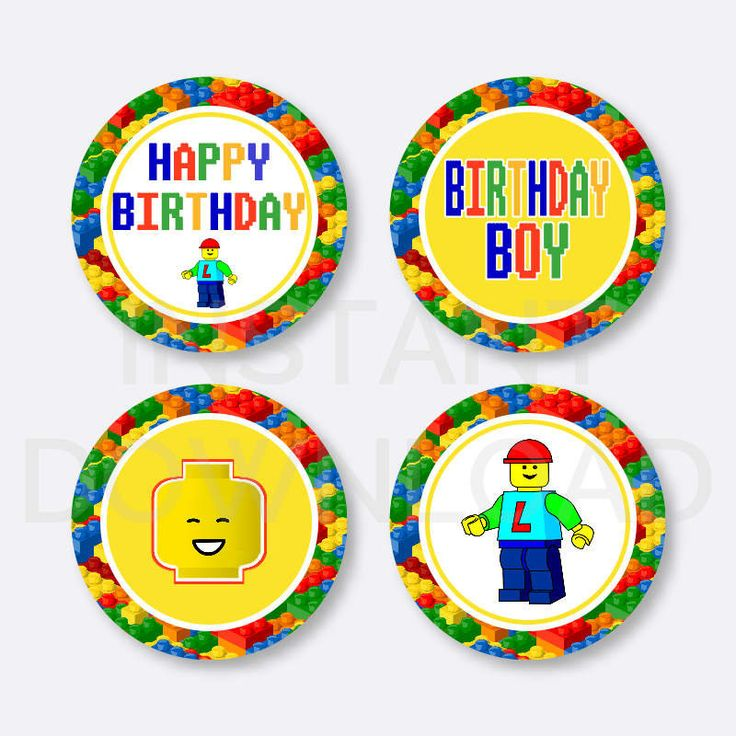 Instant Download, Lego Cupcake Toppers, Lego Cake Toppers, Lego Party Cake Toppers, Lego Party, Lego Party Printables, Party Circle, Brick
