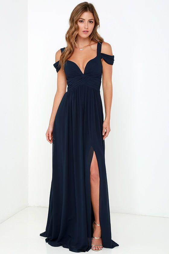 Bariano Océano de la elegancia Azul marino vestido maxi en Lulus.com!