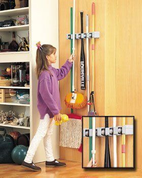 Magic Holder Broom & Mop Organizer by Evriholder. $35.99. This magic mop and broom holder is the perfect way to store and organize your mops, brooms, and dustpans. Mounting hardware and instructions are included.