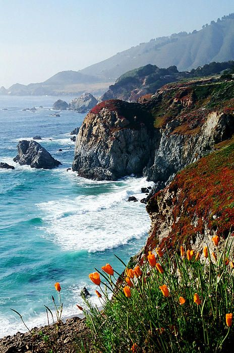 Sections of California's big sur coastline often reward the viewer a coastal high, California, USA - by Frank Townsley
