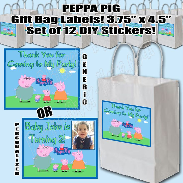 Peppa Pig Nick Jr Thank You Party Favor Gift Bag Labels DIY Stickers (12 pc) #ThankYou