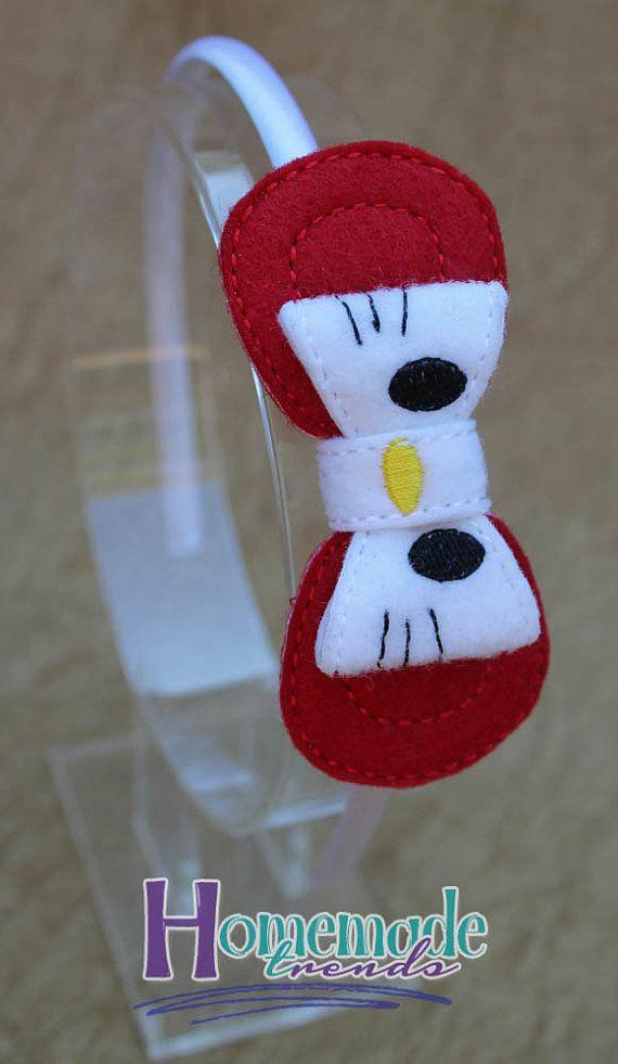 Kitty arco Kitty diadema color rojo arco-Hola gatito pelo accesorio-3D fieltro Kitty gato arco pelo accesorio gato arco Clip gato diadema-carácter diadema