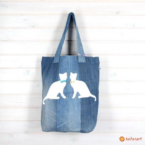 Torba shopperka denim z kotem - Torby na ramię - Torby i torebki