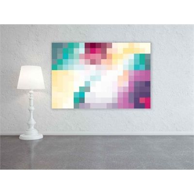 cool Down that Little Lane Pixelate Canvas | Turquoise Yellow Pink