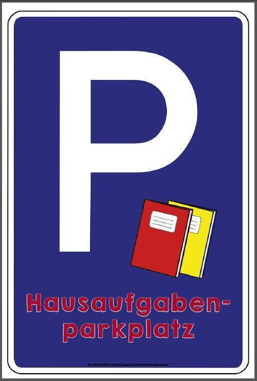 Hier ist ein Schild für den Hausaufgabenparkplatz…