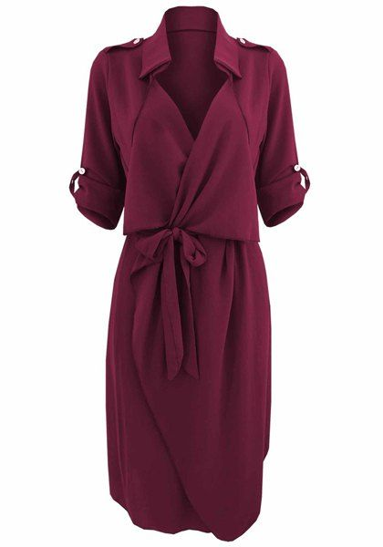Stylish Turn-Down Collar Long Sleeve Solid Color Self Tie Belt Trench Coat For Women