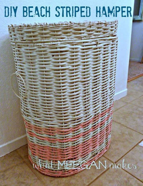 DIY Beach Striped Hamper #whatmeeganmakes
