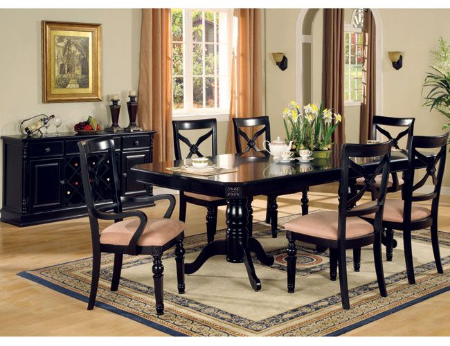 9 best images about dining room ideas on pinterest for Black dining room table set