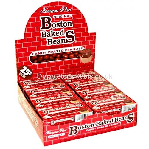 Boston baked beans are small, individually boxed candies that come packed full of peanut flavouring.