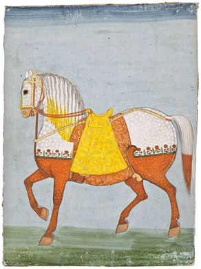 A stallion, Marwar, North India, latter 18th C. The Rajputs of Marwar bred their own horse - distinctive for its short ears.