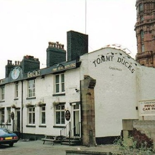 Tommy Duck's. An historic pub pulled down under cover of darkness by contractors during work in Manchester City centre.