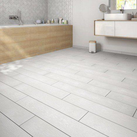 Carrelage sol et mur blanc effet bois Colorata l15 x L90 cm Déco