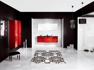 Bathroom Ideas Red And Black 32 best red bathrooms images on pinterest | red bathrooms, red and