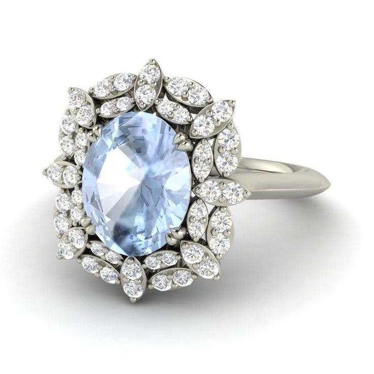 1.94 Ct Aquamarine & Diamond Cluster Engagement Wedding Ring in 14k White Gold | eBay