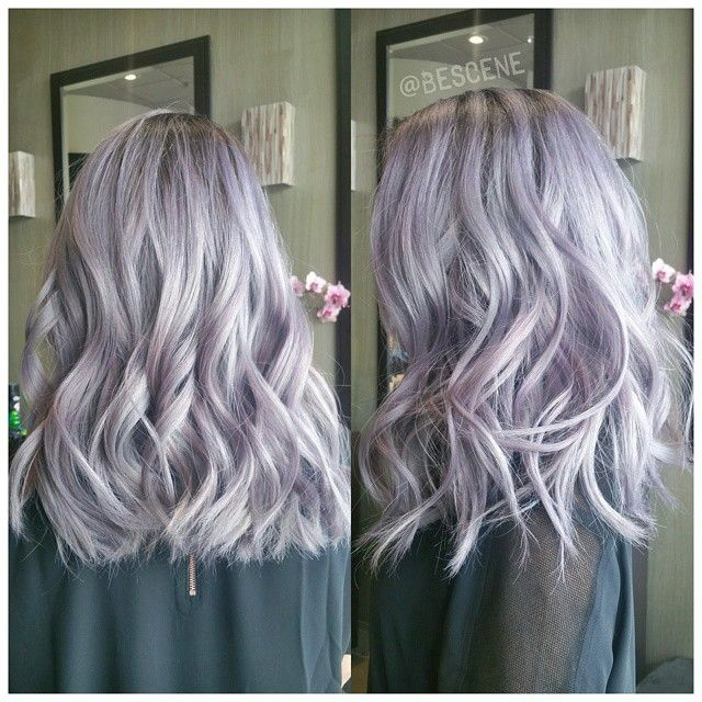 SILVER LAVENDER  Using all @Schwarzkopfusa! I also dragged out her natural base color so her maintenance would be lower. Base: 4-13, 5-1, 0,22 7vol Ends: 9.5-29, 9.5-22, 0-99 7vol. Styled by my assistant @maayanbescene! #BESCENE