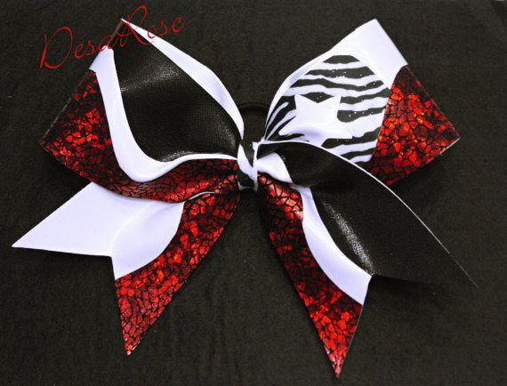 Super Star Cheer Bow Red Black White & Zebra by desarosebowtique, $19.99