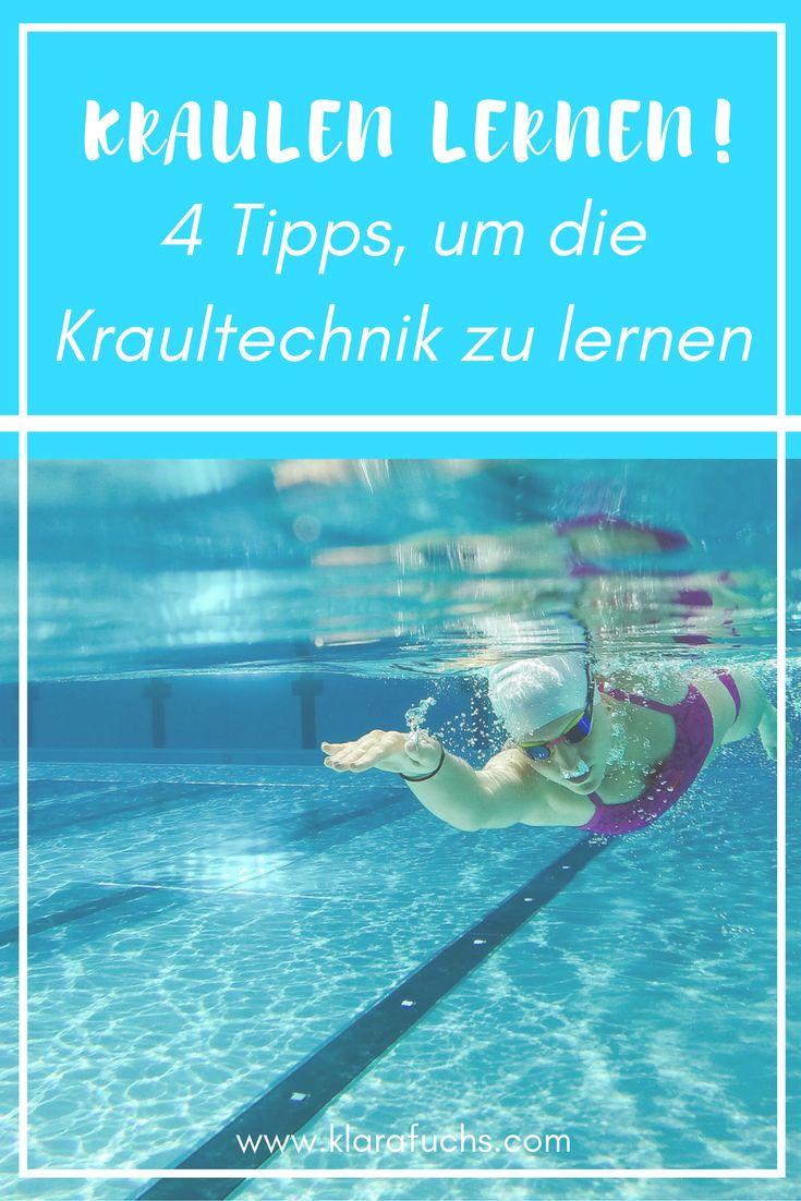 Kraulen lernen - hier bekommst du die besten Profitipps, wie du das Kraulen Schritt für Schritt lernen und üben kannst. Schwimmen ist ein toller Freizeitsport und absolut zu empfehlen! Probier diese Übungen aus und verbessere deine Schwimmtechnik. // www.klarafuchs.com