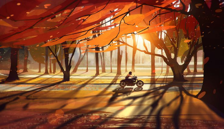 Autumn - Last Leaves by Bastien Grivet | Illustration | 2D | CGSociety