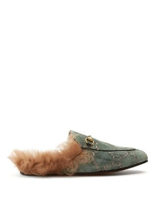 550cc2d03a6 Princetown shearling-lined velvet loafers