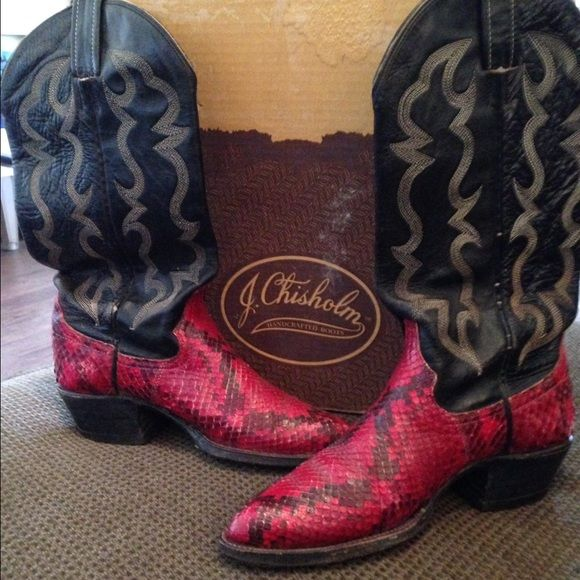 Cowboy Boots J. Chisholm handcrafted Red Snakeskin Cowboy Boots , genuine Leather J. Chisholm Shoes Heeled Boots