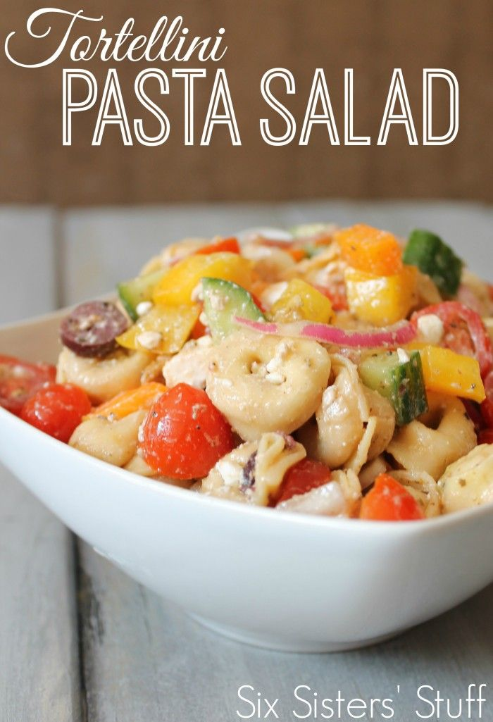 Tortellini Pasta Salad is perfect for any side dish or BBQ! From Sixsistersstuff.com