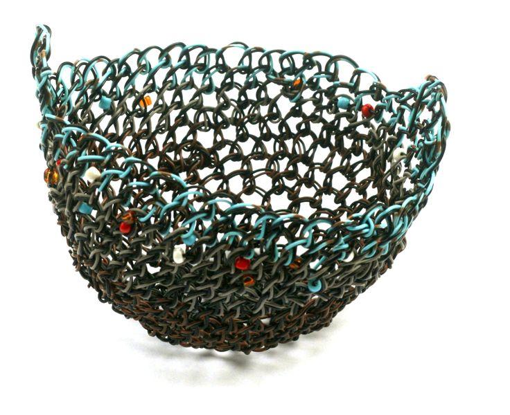 © 2013, Maritza Noa-Cabrera, Azul, #wiresculpture #wovenbasket . Sold