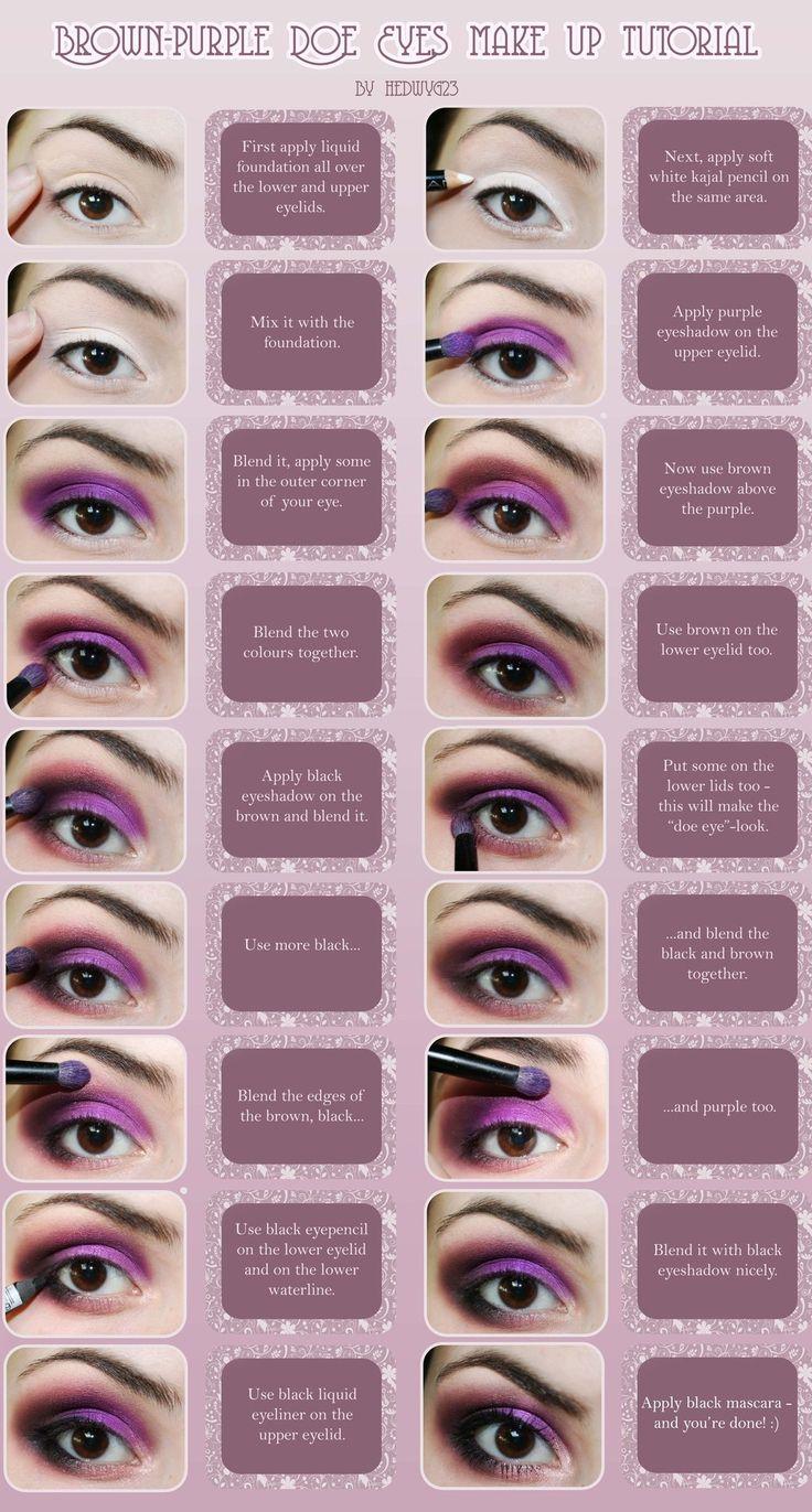 Brown-Purple Doe Eyes Make Up Tutorial by Hed-y.deviantart.com on @deviantART