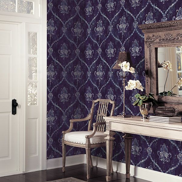 Love this midnight blue bold design from the Classic Silks 3 Collection by Galerie - CS35601R