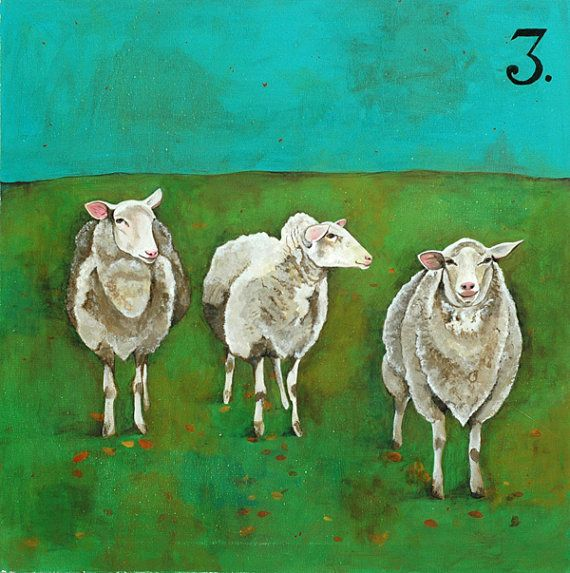 Fun and quirky, 3 sheep with the numeral 3.  I like this concept for a baby/kid's room where we have several paintings of numbers of things (animals) with the corresponding numeral noted on it.  -KWA