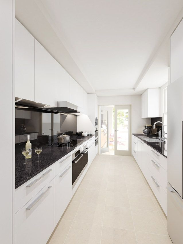 A galley kitchen concept for a terrace home in Sydney. Under cabinet pull downs are hidden by doors. Black granite benchtops matched with black glass splashback. #DanKitchensAus