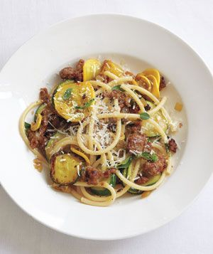 Bucatini With Turkey Sausage and ZucchiniFood Recipes, Zucchini Recipe, Zucchini Pasta, Bucatini, Turkey Sausage, Summer Dinner, Dinner Tonight, Yummy Dinner, Real Simple