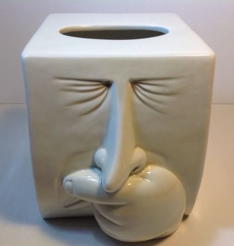 Rare fitz floyd sneezing nose tissue kleenex holder box dispenser cover 1987 - Nose tissue dispenser ...