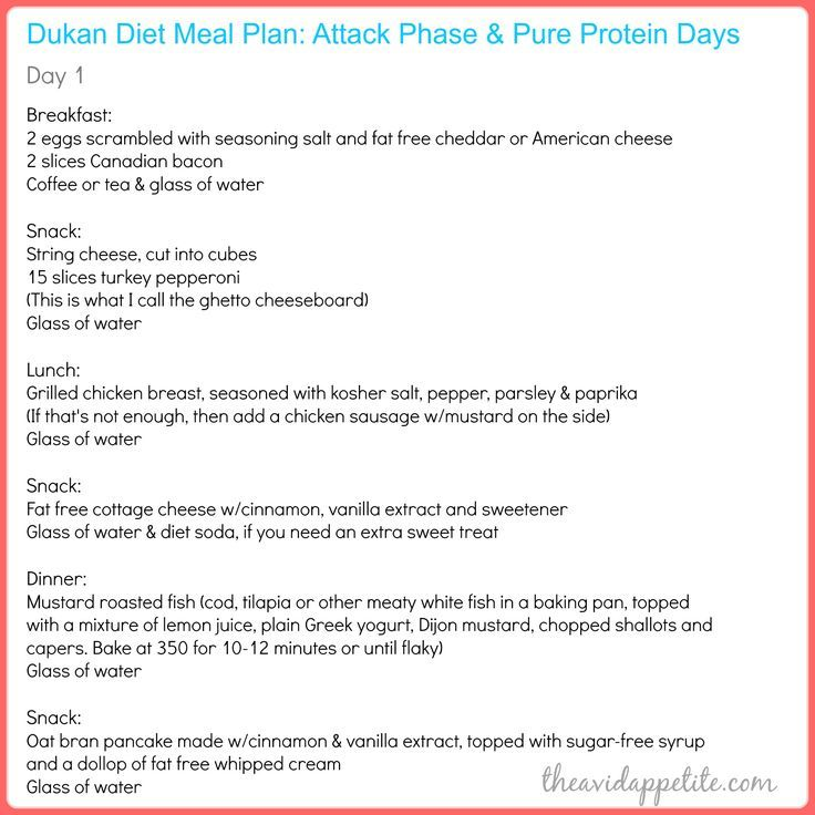 dukan diet day one