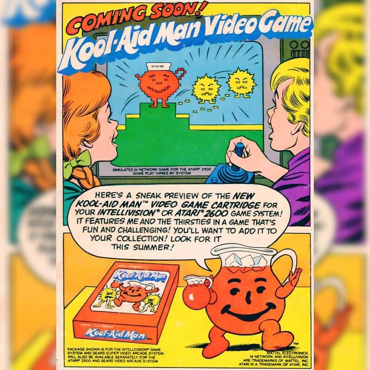 On instagram by retrowabbit #intellivision #microhobbit (o) http://ift.tt/1YWMvOj  Man video game ad #koolaid #videogame  #gamer  #gamers #atari  #mattel  #vintagefood  #retrofood  #80s  #ohyeah #koolaidman