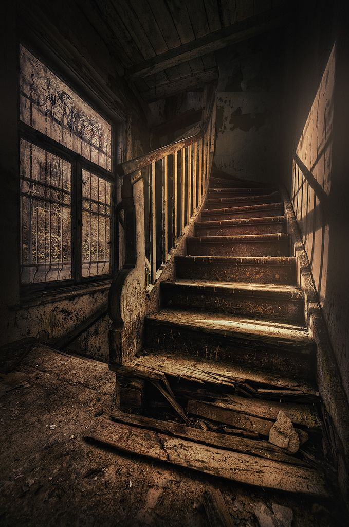 Watch your step! Staircase in an abandoned mansion in Gdansk, Poland