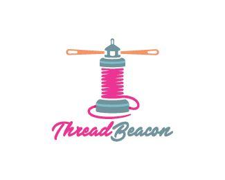 Thread Beacon Logo design - Logo design of a spool shaped like a lighthouse. Price $350.00