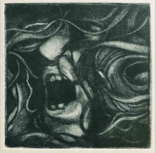 Laura Kozma: SELF IN NEGATIVE (mezzotint) ...because I scanned my face and I liked it