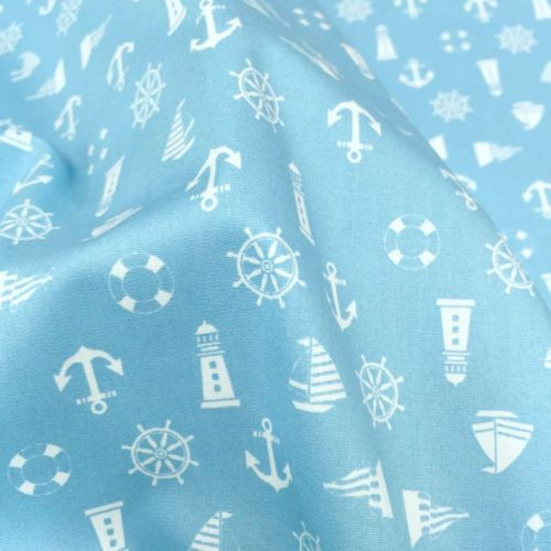NAUTICAL-BLUE-POLISHED-COTTON-ANCHOR-LIGHTHOUSE-Fabric-44-W-BTY-Craft-Decor